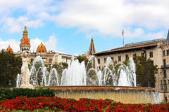 Fountain at Catalonia Square in Barcelona, Spain Stock Images