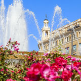Fountain in catalonia square Royalty Free Stock Photo