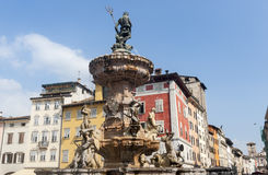 Fountain in the cathedral square of Trento Royalty Free Stock Photos