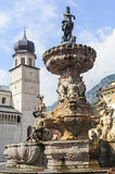 Fountain in the cathedral square of Trento Royalty Free Stock Image