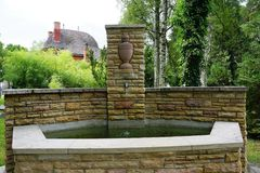Fountain at cemetery by crematorium in tuttlingen Royalty Free Stock Images