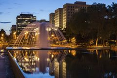 Fountain in the center of Edmonton Royalty Free Stock Photo