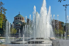 Fountain in the center of  Pleven and St. George the Conqueror Chapel Mausoleum, Bulgaria Stock Photography