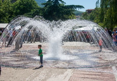 The fountain in the center of the town of Karlovo in Bulgaria Royalty Free Stock Photo