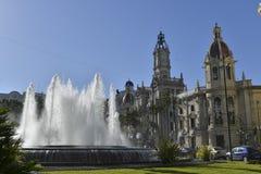 Fountain in the center of valencia Stock Image