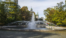 Fountain in the center of Warsaw, in Poland Royalty Free Stock Image