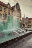 Fountain in center of Wroclaw, Poland Royalty Free Stock Images