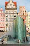 Fountain in center of Wroclaw, Poland Royalty Free Stock Photos