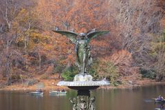Fountain in Central Park. Famous Angel fountain in Central Park Stock Photography