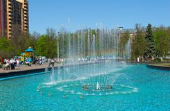 Fountain in the central park of the town of Zhukovsky Stock Image
