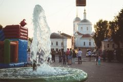 Fountain in the central square of the city of Borovsk, Russia. Fountain in the central square of the city. Celebration of the 660th anniversary of the city of royalty free stock photos