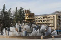 Fountain on central square in Kutaisi city. In Georgia stock photography