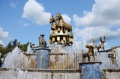 Fountain on central square in Kutaisi, Georgia,capital of antique Colhis. Fountain shows 30 golden statues of the Colchis stock photos