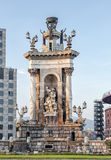 The fountain at the centre of the Placa d'Espanya. Barcelona, Spain. Royalty Free Stock Image
