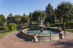 Fountain in  centre of  small town Royalty Free Stock Image
