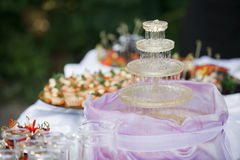 Fountain with champagne, glasses. catering banquet table. a lot of snacks and canapes Royalty Free Stock Photos