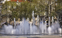 Fountain on the Charles de Gaulle square in Antibes. France Royalty Free Stock Image