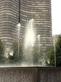 modern fountain and waterwall in chicago Stock Image
