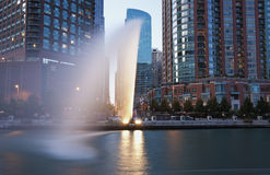 Fountain by Chicago River Royalty Free Stock Image