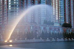 Fountain by Chicago River Stock Images