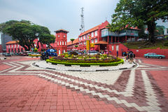 Fountain and Christ Church near by Dutch Square in Malacca, The World Heritage City, Malaysia. Royalty Free Stock Images