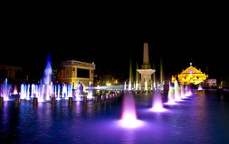 Fountain with church background. The beautiful Plaza Salcedo fountain in the Philippines Royalty Free Stock Images