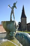 Fountain with church in background Stock Photo