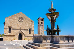 Fountain and Church. Rhodes, Greece Royalty Free Stock Images