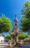 Fountain and Church of St. Alexander in Rastatt Stock Photos