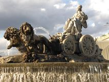 Fountain of Cibeles, emblem of the city of Madrid Spain Europe. Statue symbol tourism tourist travel traveler stock photography