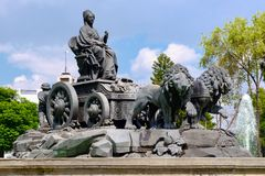 The fountain of Cibeles at Colonia Roma in Mexico City. The fountain of Cibeles in Madrid Square, at colonia Roma in Mexico City stock images