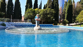 Fountain at the circus, funny clown, Sochi landmark Stock Image