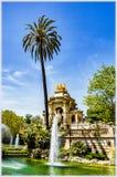 Fountain in Citadel Park, Barcelona. Fountain and the palm in Citadel Park, Barcelona, Spain Royalty Free Stock Photography