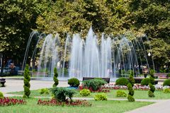 Fountain is in a city. Blurred Motion Stock Image