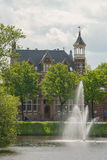 Fountain in city canal in Zwolle Stock Photos