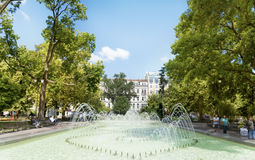 Fountain in the city garden of Sofia,in front of the Ivan Vazov National Theatre. SOFIA,BULGARIA, 20.08.16 : the city garden is the oldest and most central royalty free stock image