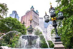 Fountain in the City Hall Park Manhattan New York City Stock Images