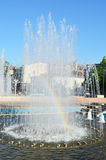 Fountain in the city Kharkiv. Fountain and rainbow in the city Kharkiv Stock Photos