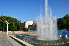 Fountain in the city Kharkiv in spring Royalty Free Stock Image