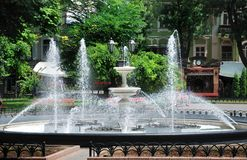 Fountain in city park Royalty Free Stock Photo