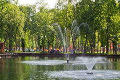 Fountain in city park Royalty Free Stock Photography