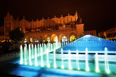 Fountain of Cloth Hall on Rynek Glowny in Krakow Stock Image