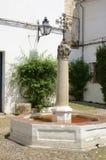 Fountain in cobblestone patio Royalty Free Stock Photo