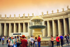Fountain colonnade St Peter square Vatican Rome Stock Photography