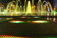 Fountain with colorful illuminations at night Royalty Free Stock Photo