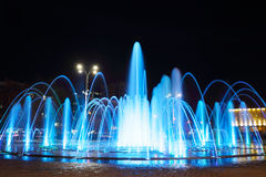 Fountain with colorful illuminations at night Royalty Free Stock Image