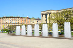 Fountain complex on Moscow square in Petersburg, Russia. Stock Image