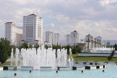 The fountain complex in new district. Fountains and nwe district. Ashkhabad. Turkmenistan Royalty Free Stock Photo