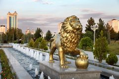 The fountain complex in the park. Ashkhabad. Turkmenistan Royalty Free Stock Images
