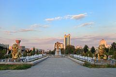 The fountain complex in the park. Ashkhabad. Turkmenistan royalty free stock photo